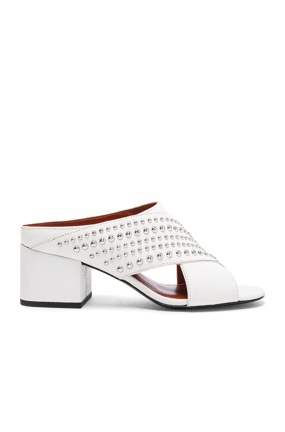 Image 1 of 3.1 phillip lim Crisscross Leather Cube Open Toe Slip Ons in White