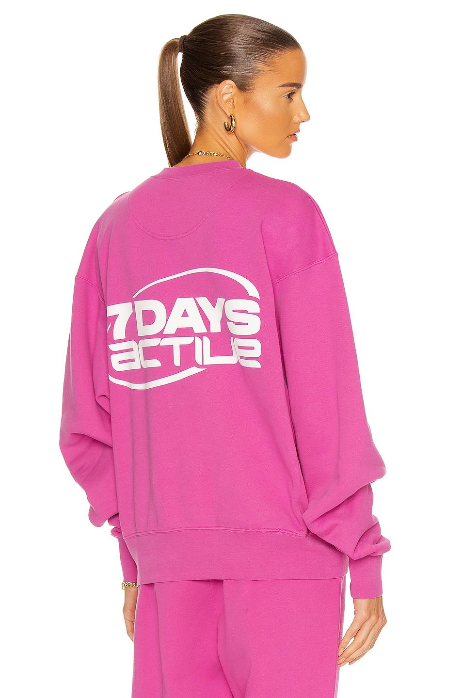 Image 1 of 7 Days Active Oversized Monday Crew Neck Sweatshirt in Fuchsia Pink
