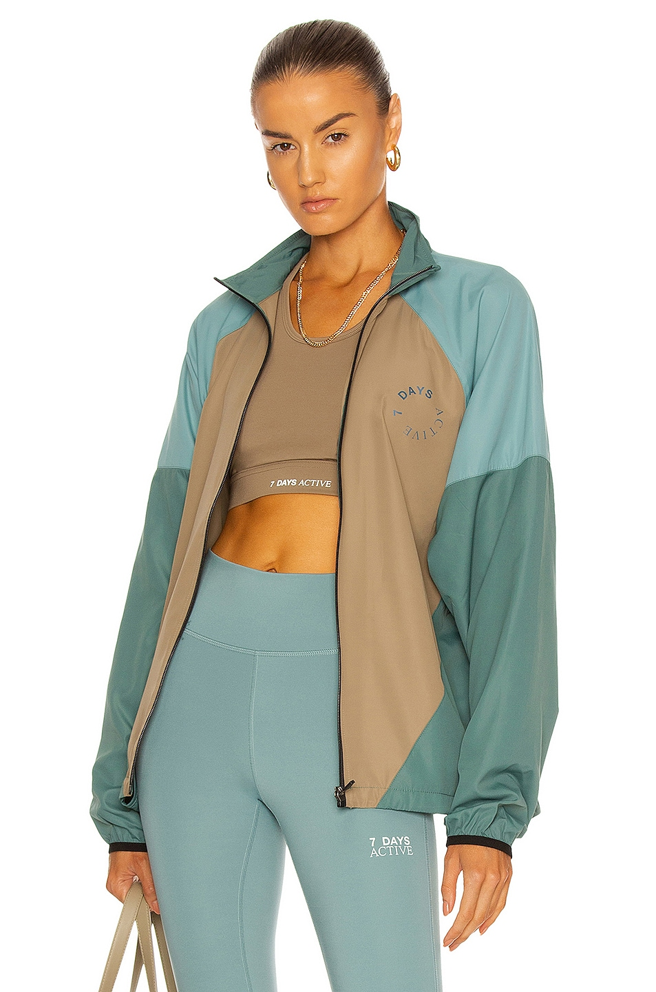 Image 1 of 7 Days Active Running Jacket in Light Green & Brown