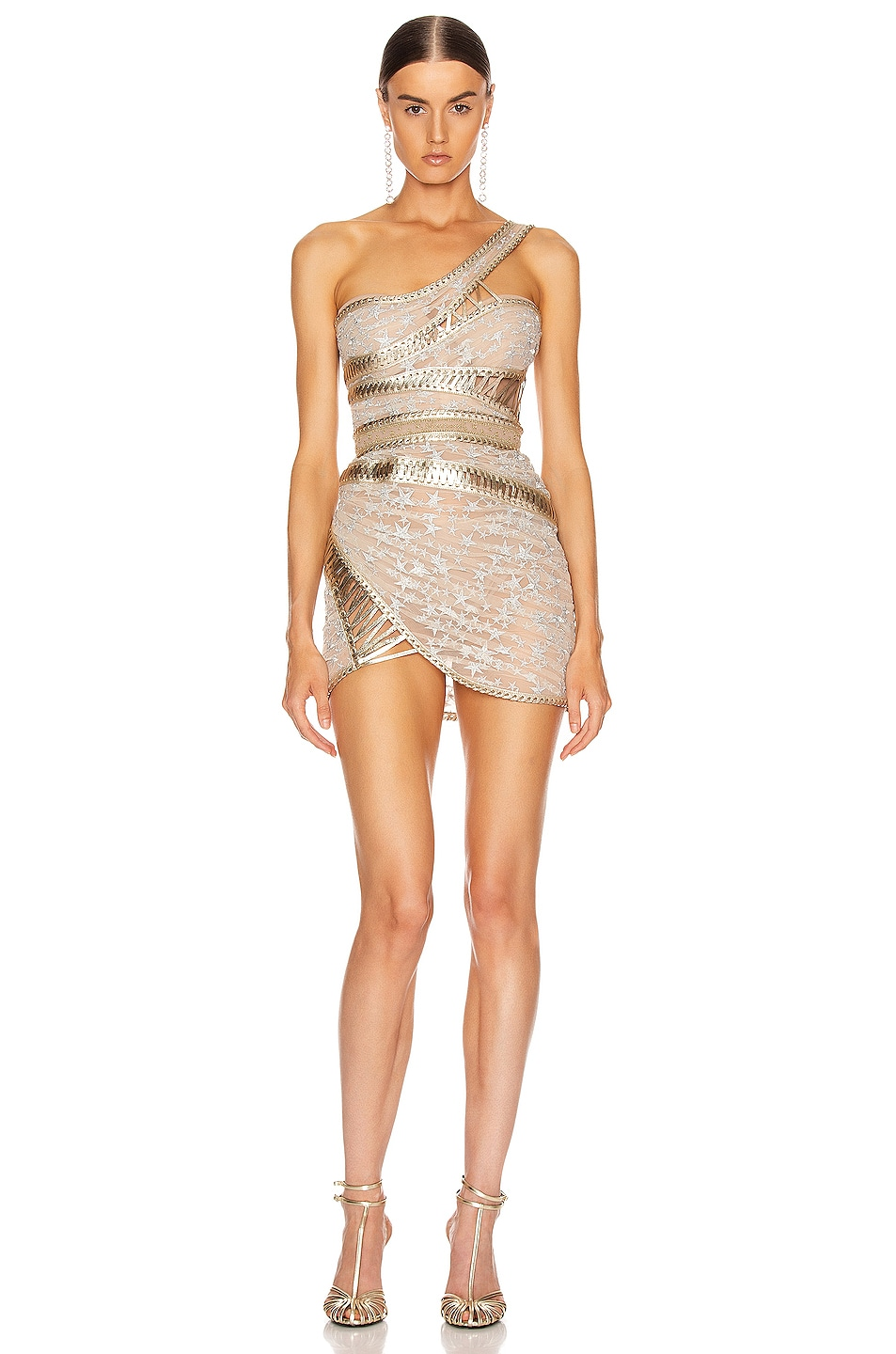 Image 1 of Aadnevik One Shoulder Corset Dress in Silver & Gold