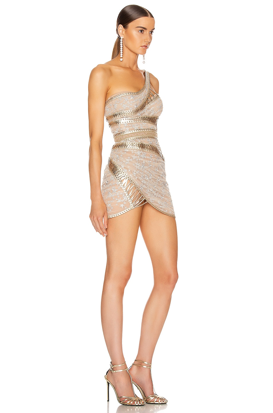 Image 2 of Aadnevik One Shoulder Corset Dress in Silver & Gold