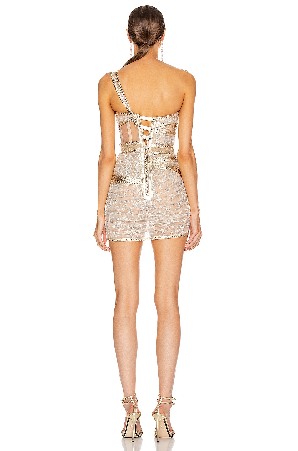 Image 4 of Aadnevik One Shoulder Corset Dress in Silver & Gold