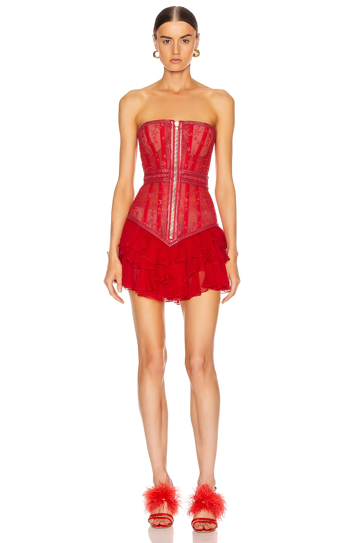 Image 1 of Aadnevik Bustier Mini Dress in Red