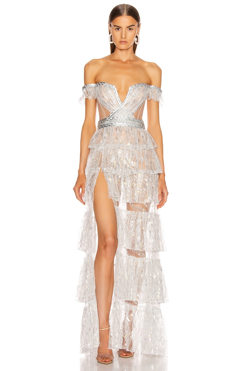 Image 1 of Aadnevik French Lace Layered Gown in Silver Iridescent