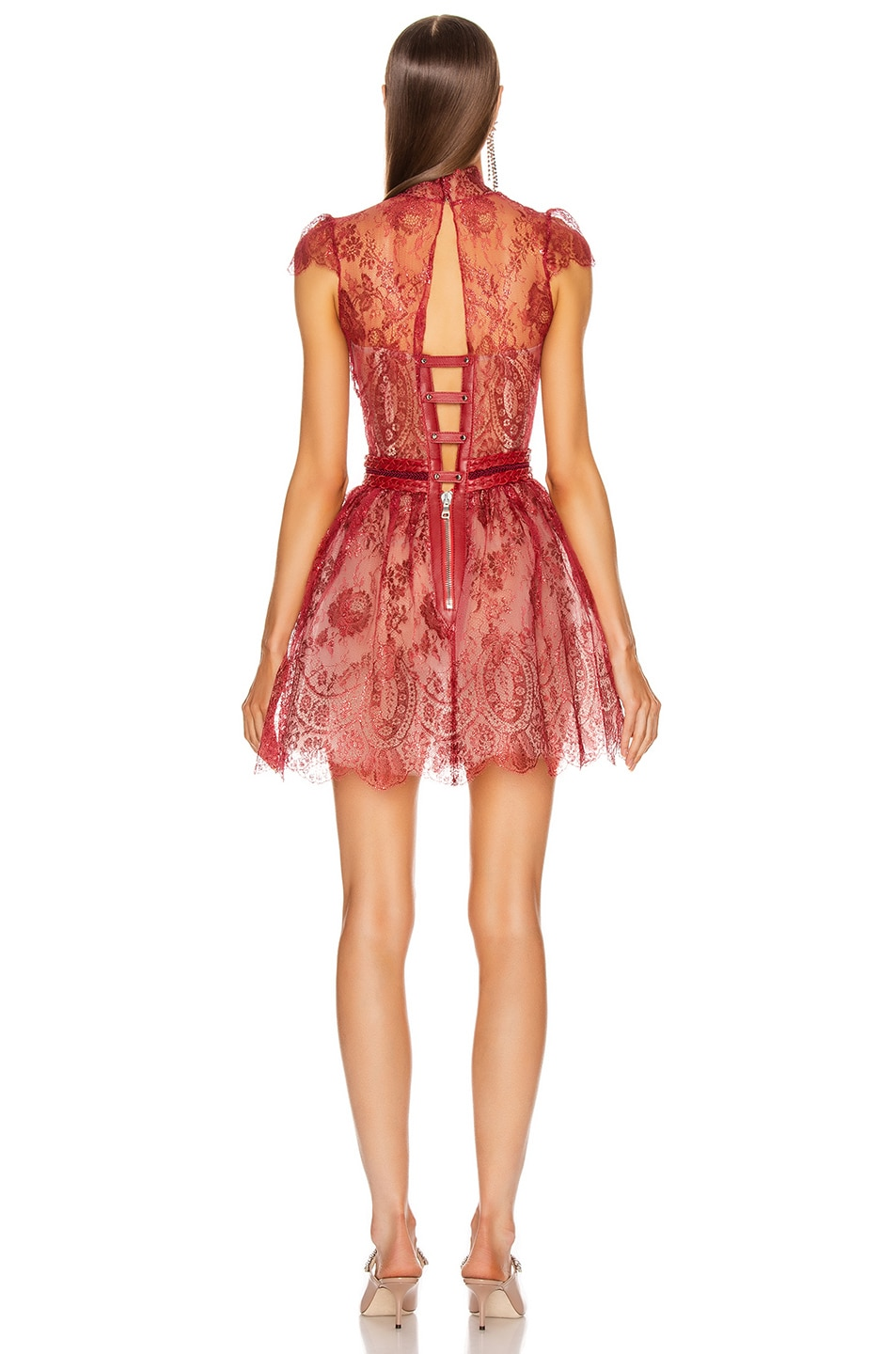 Image 3 of Aadnevik French Lace Mini Dress in Red Iridescent