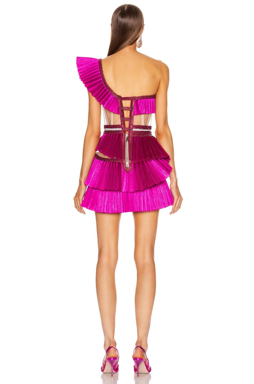 Image 4 of Aadnevik One Shoulder Pleated Ruffle Mini Dress in Pink
