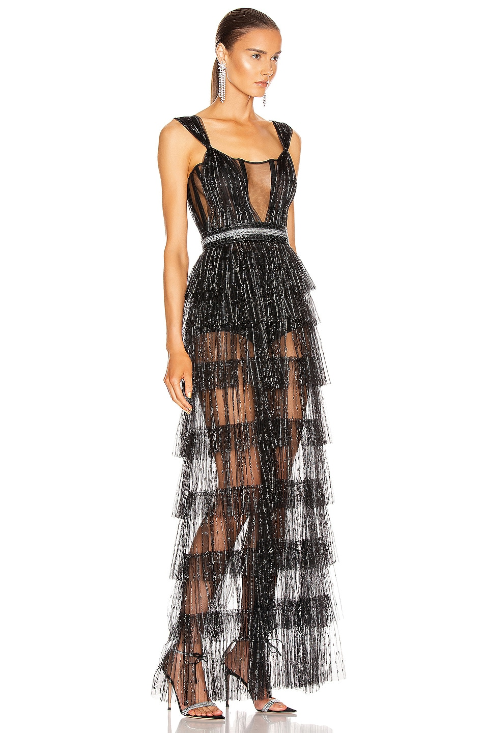 Image 2 of Aadnevik Layered Sparkle Gown in Black