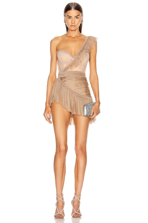 Image 1 of Aadnevik One Shoulder Asymmetric Bustier Mini Dress in Nude