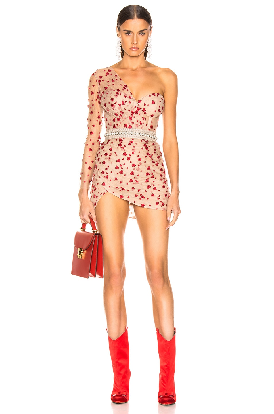 Image 1 of Aadnevik French Lace One Shoulder Mini Dress in Red Floral