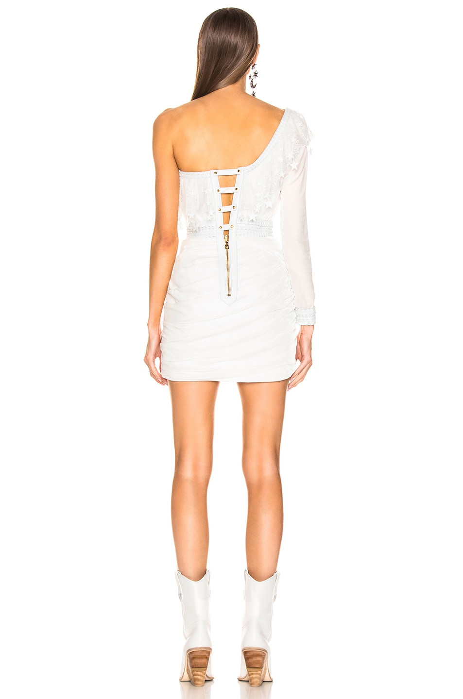 Image 3 of Aadnevik Velvet One Shoulder Mini Dress in White