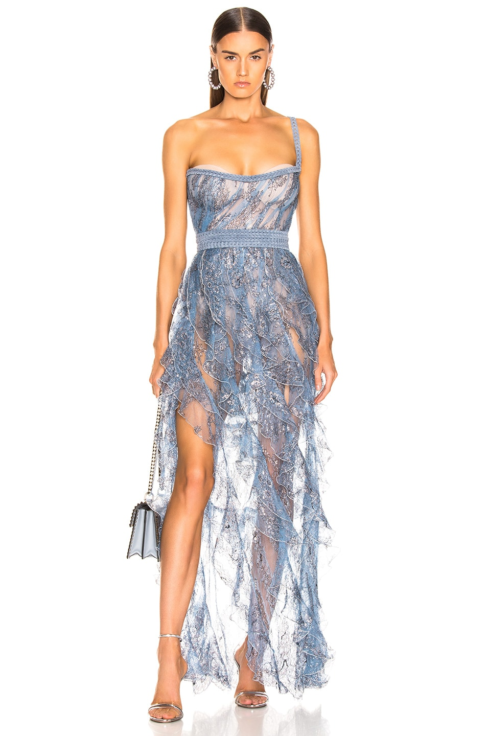Image 1 of Aadnevik Sparkling Lace Bustier Gown in Blue
