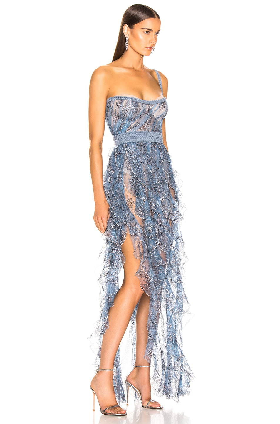 Image 2 of Aadnevik Sparkling Lace Bustier Gown in Blue