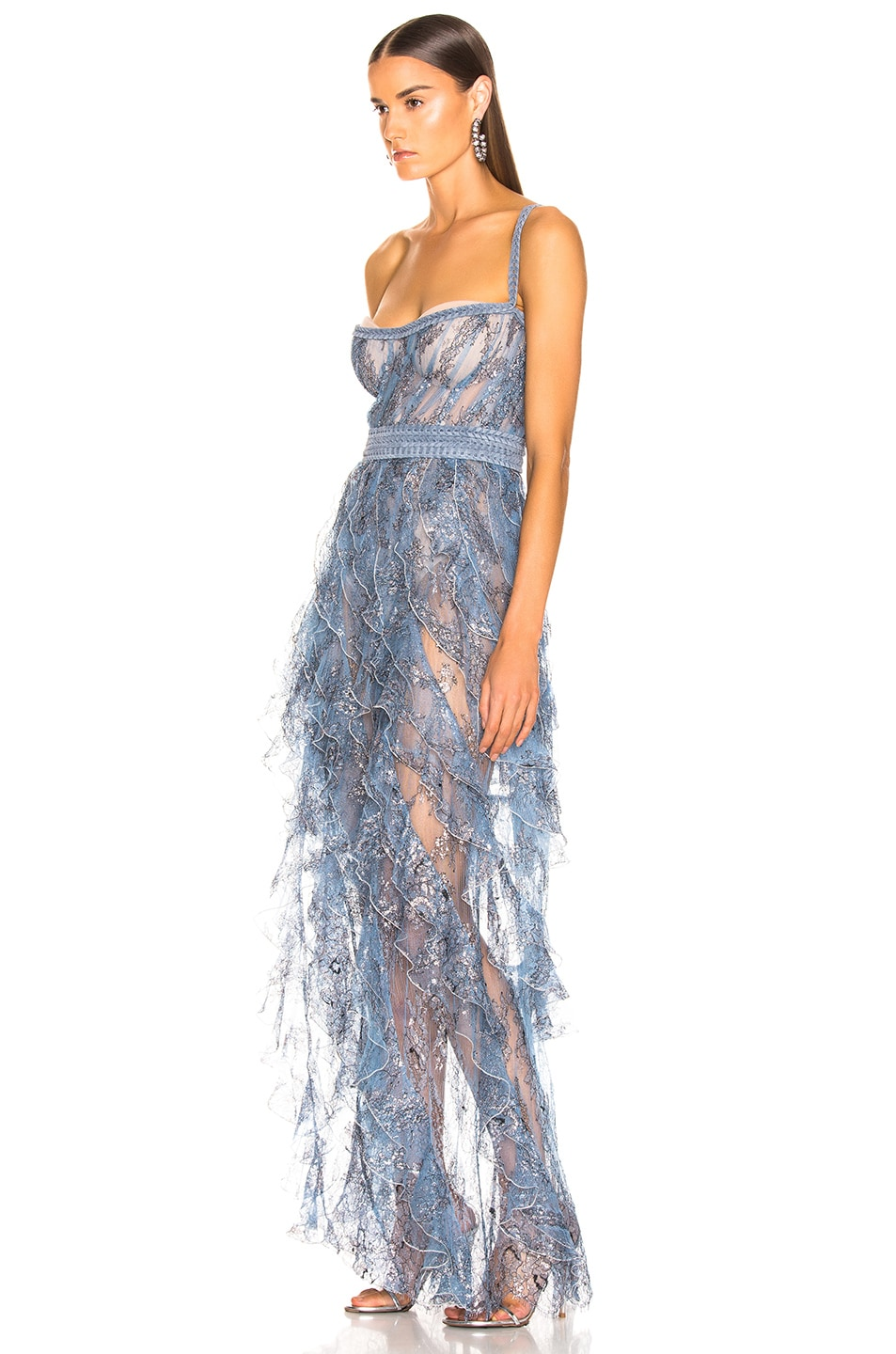 Image 3 of Aadnevik Sparkling Lace Bustier Gown in Blue