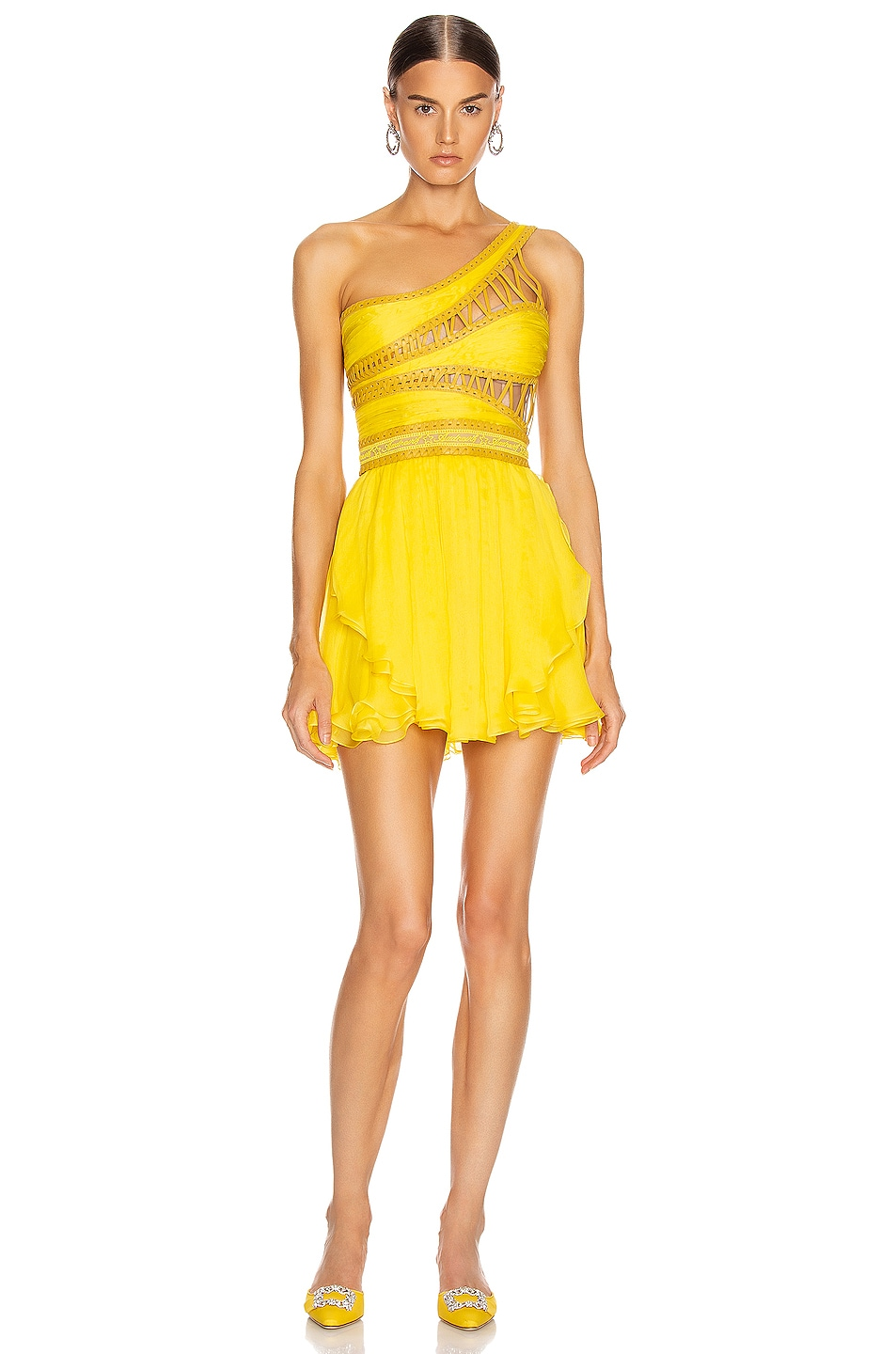 Image 2 of Aadnevik One Shoulder Chiffon Mini Dress in Canary Yellow