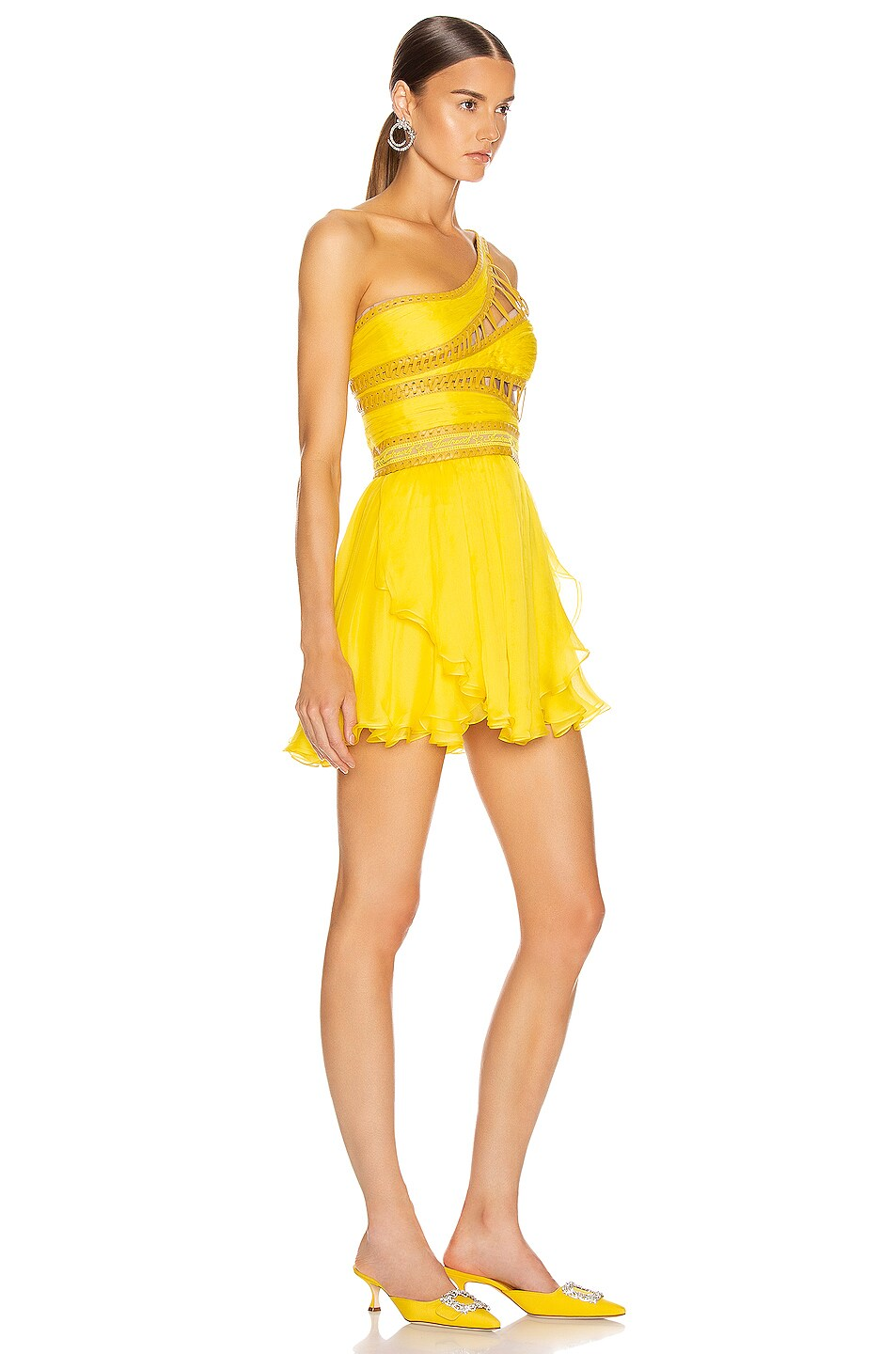 Image 3 of Aadnevik One Shoulder Chiffon Mini Dress in Canary Yellow