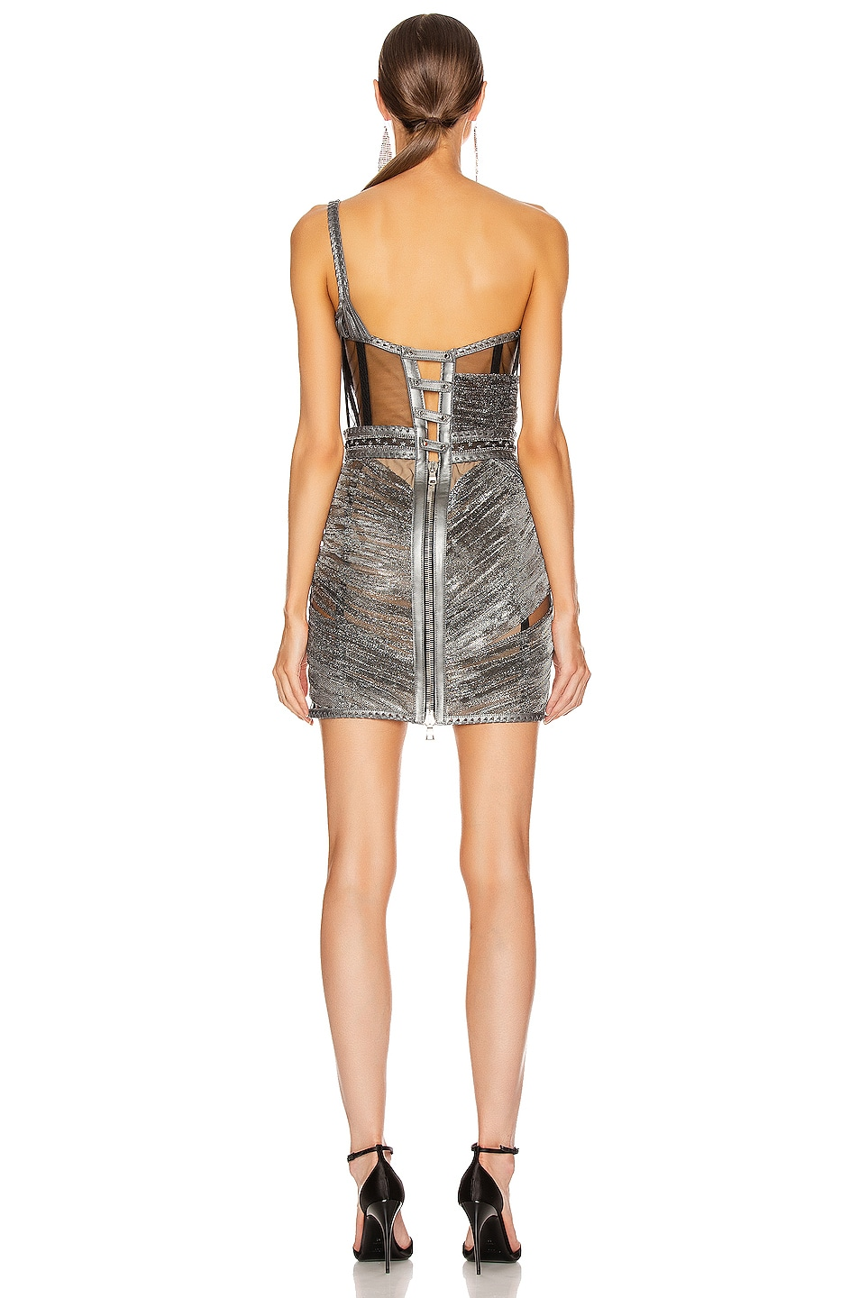 Image 4 of Aadnevik Asymmetric Corseted Mini Dress in Gunmetal