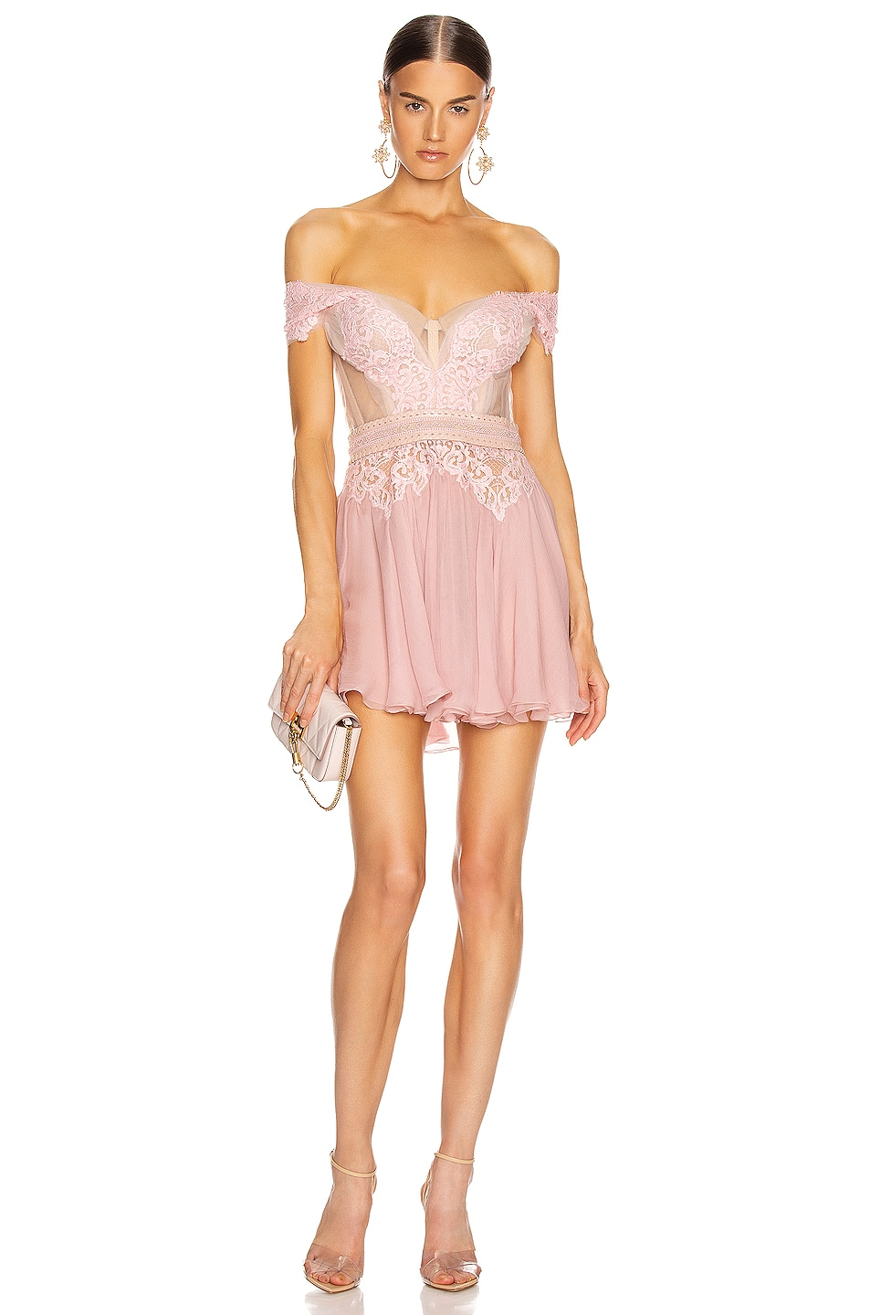 Image 1 of Aadnevik Off the Shoulder Lace Mini Dress in Pink