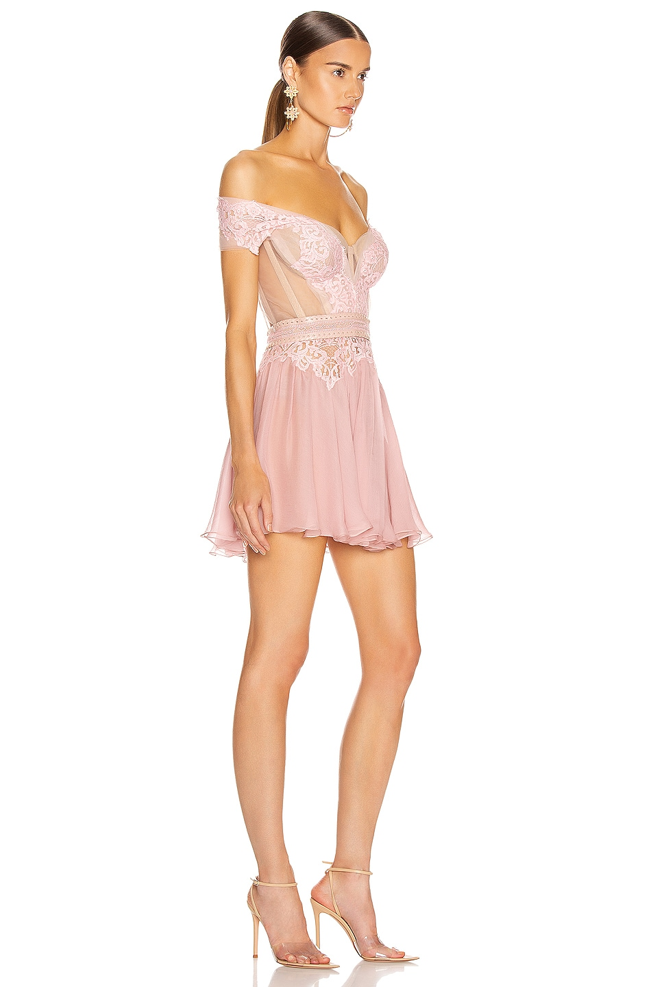 Image 2 of Aadnevik Off the Shoulder Lace Mini Dress in Pink