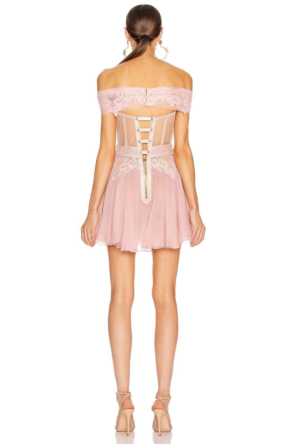 Image 3 of Aadnevik Off the Shoulder Lace Mini Dress in Pink
