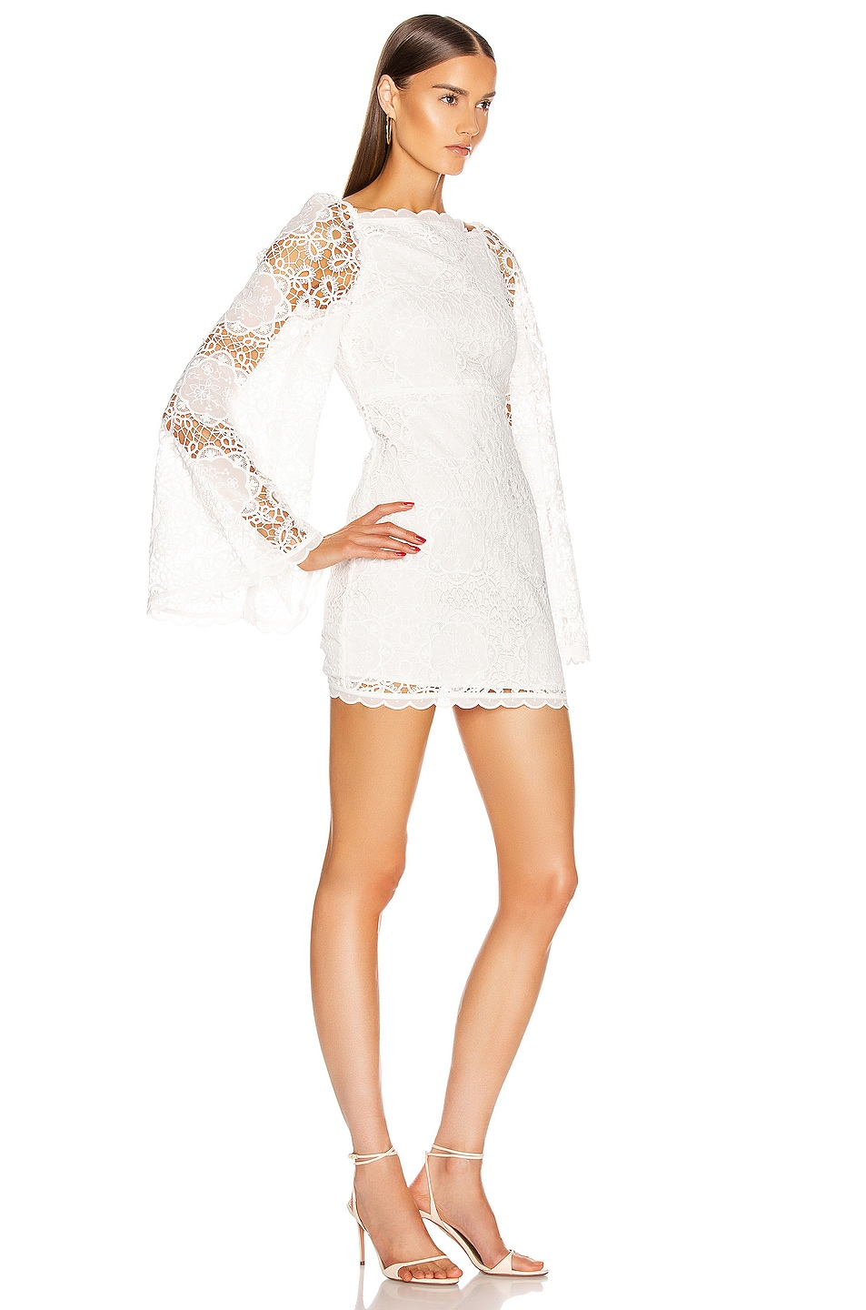 Image 2 of Alice McCall Diamond Veins Mini Dress in Porcelain