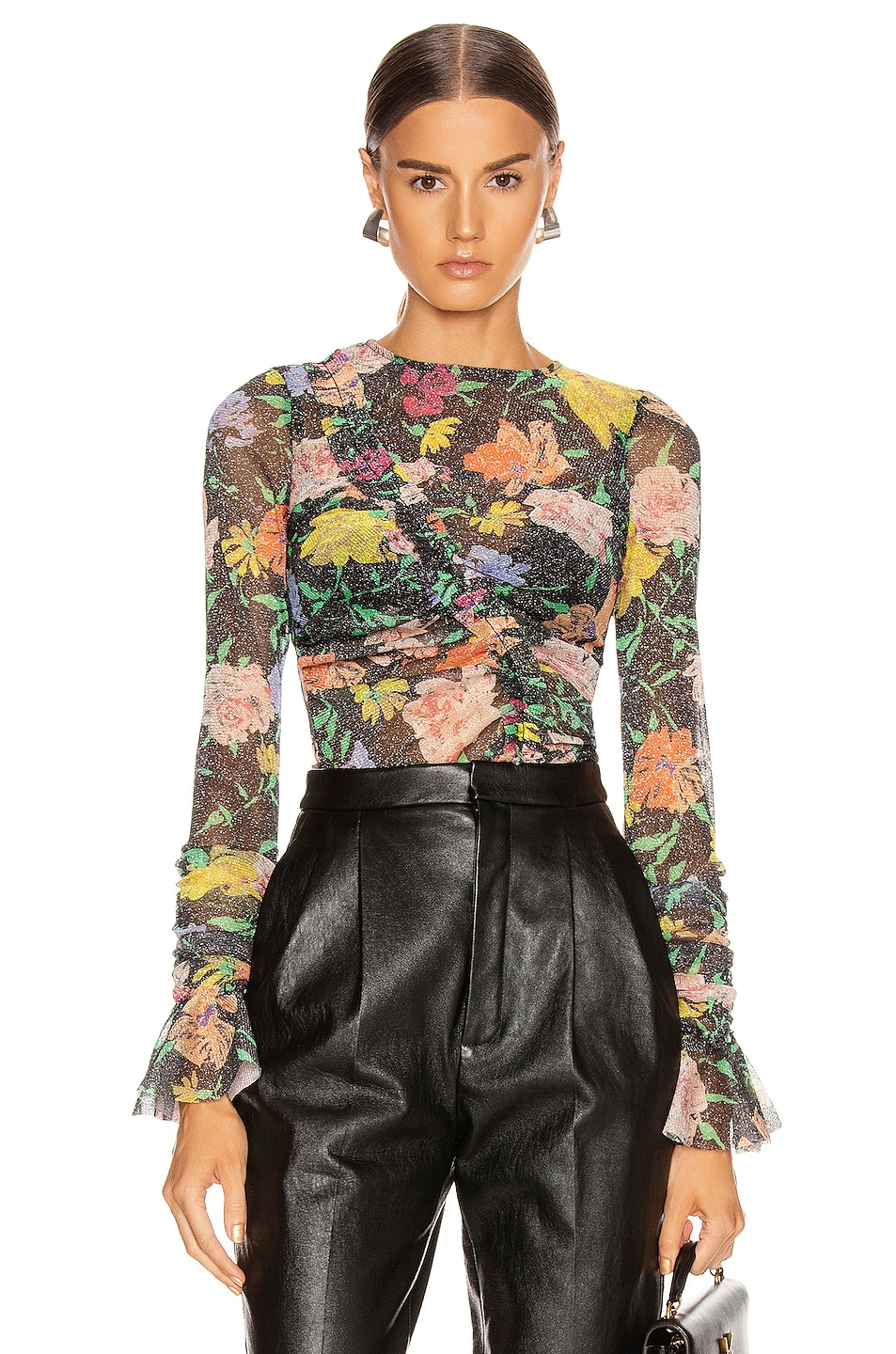 Image 1 of Alice McCall Cosmic Dancer Long Sleeve Top in Black Floral