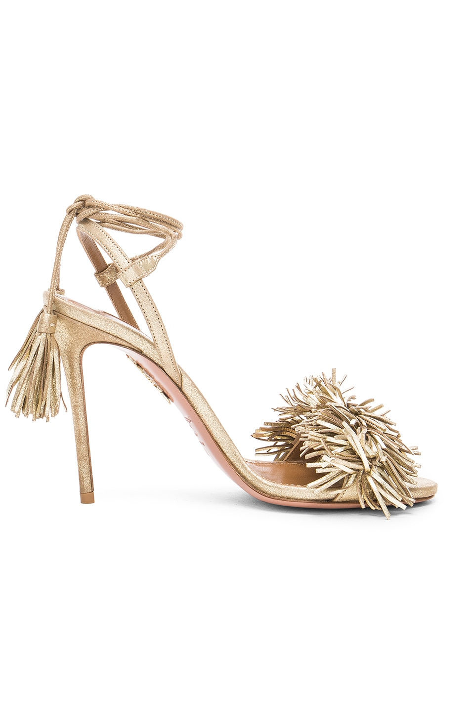 Image 1 of Aquazzura Leather Wild Thing Heels in Light Gold