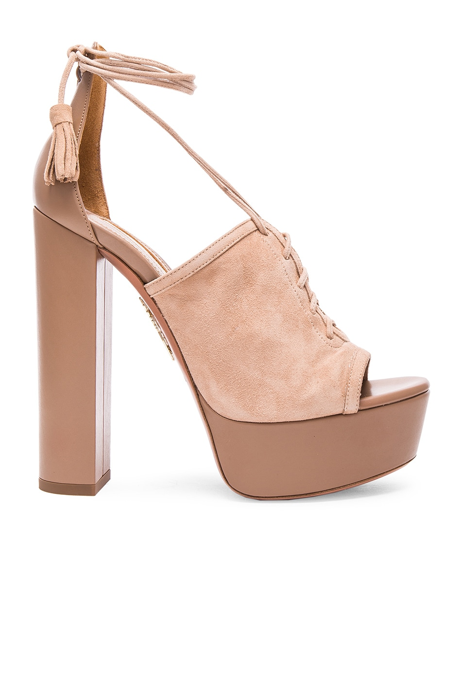 Image 1 of Aquazzura Suede Jac Platform Heels in Biscotto