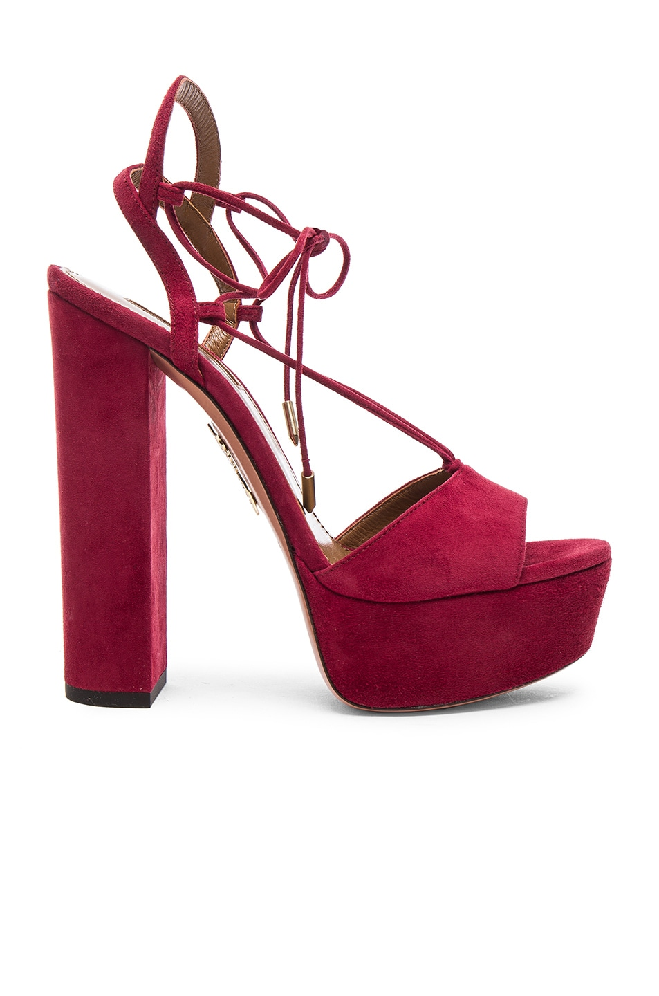 Image 1 of Aquazzura Suede Austin Plateau Heels in Pomegranate