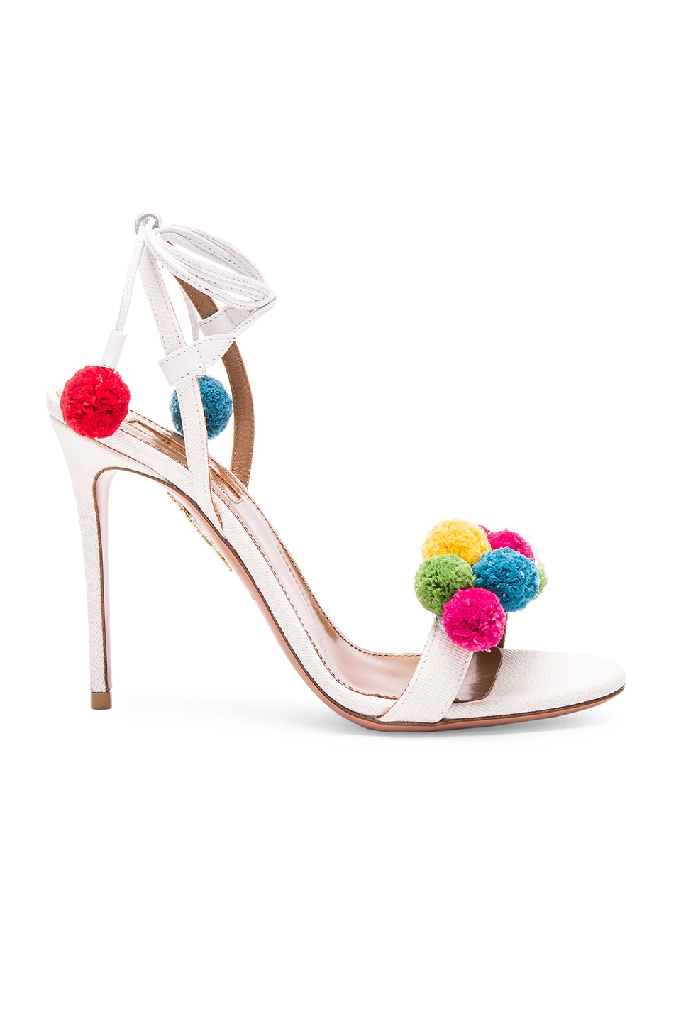 Image 1 of Aquazzura Pom Pom Heels in White & Multi