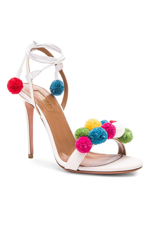 Image 2 of Aquazzura Pom Pom Heels in White & Multi