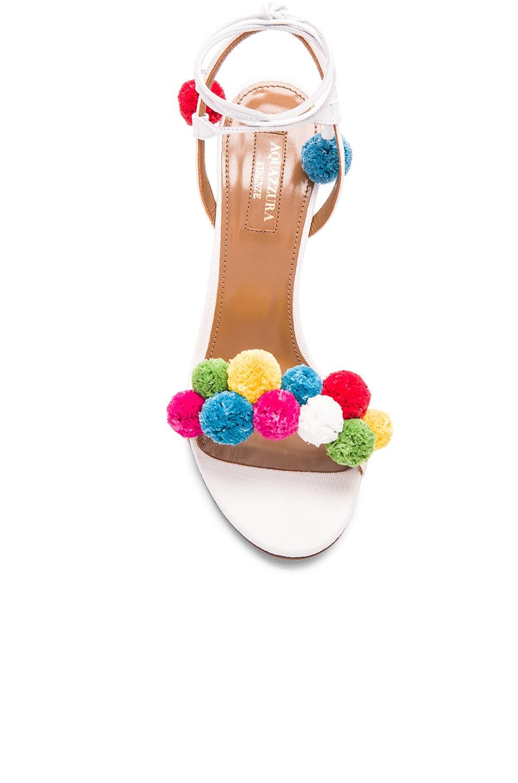 Image 4 of Aquazzura Pom Pom Heels in White & Multi
