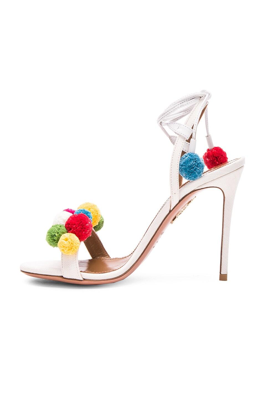 Image 5 of Aquazzura Pom Pom Heels in White & Multi