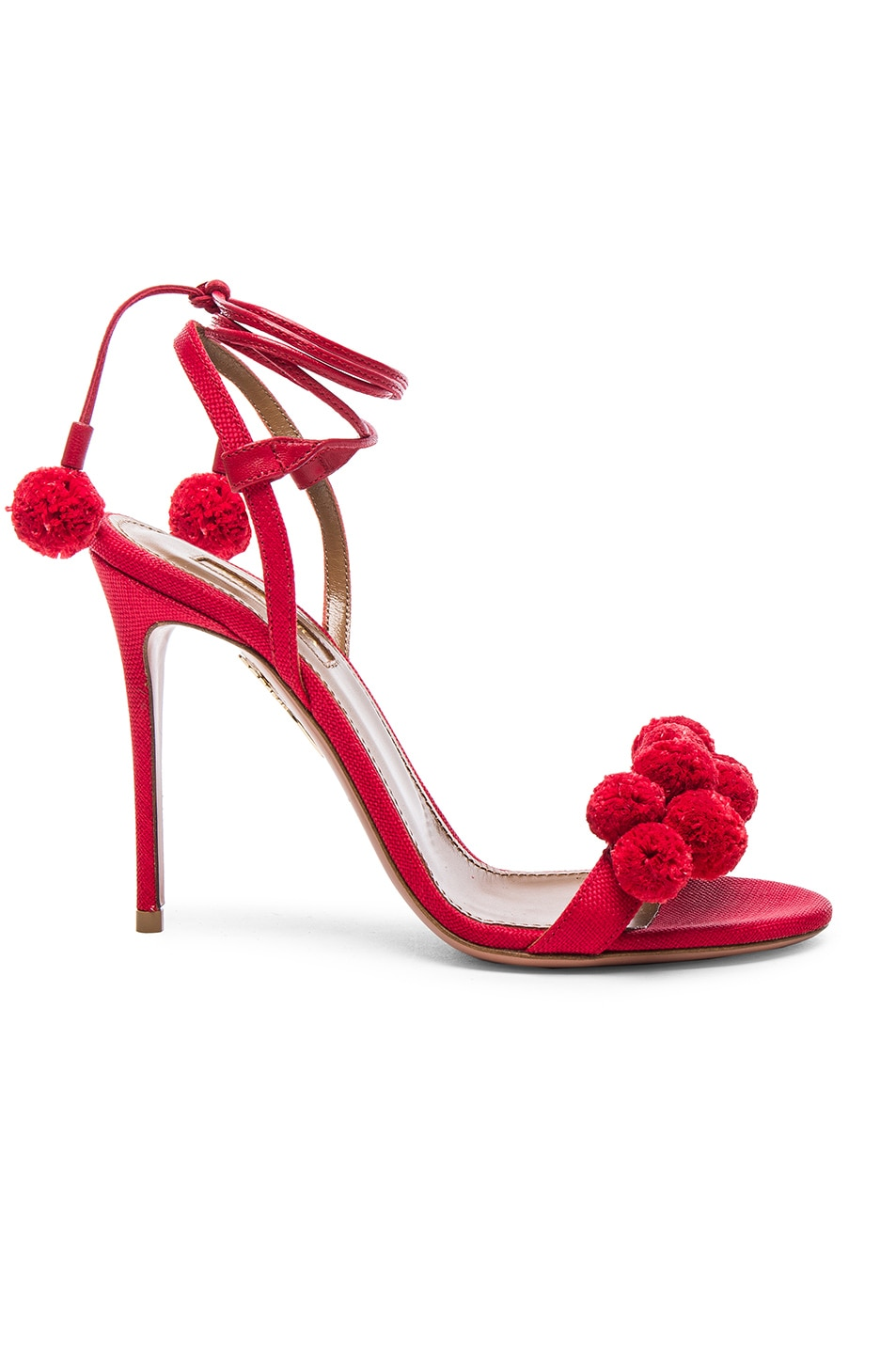 Image 1 of Aquazzura Pom Pom Heels in Lipstick