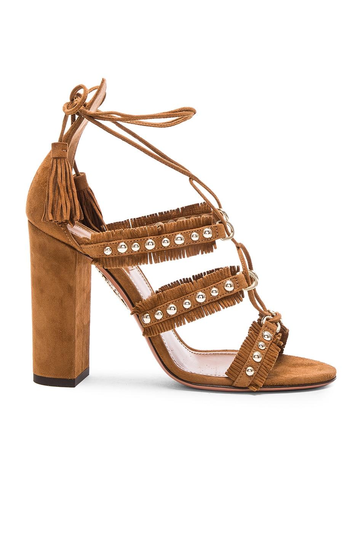 Image 1 of Aquazzura Suede Tulum Sandals in Cognac