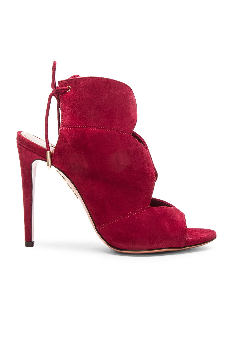 Image 1 of Aquazzura Suede Pasadena Heels in Pomegranate