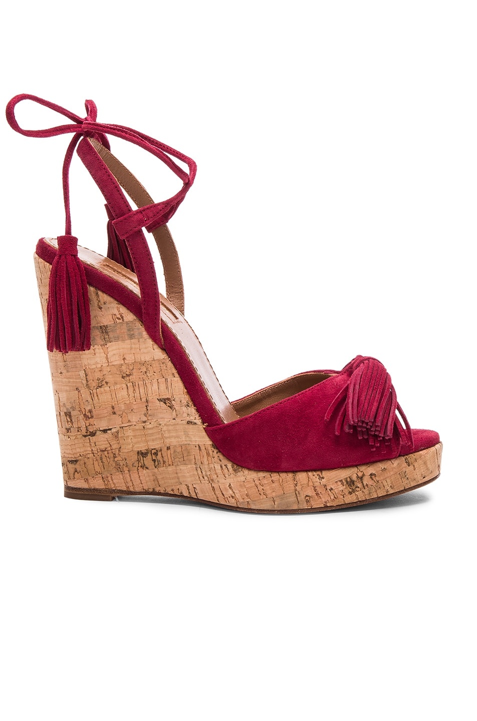 Image 1 of Aquazzura Suede Wild One Espadrille Wedges in Pomegranate