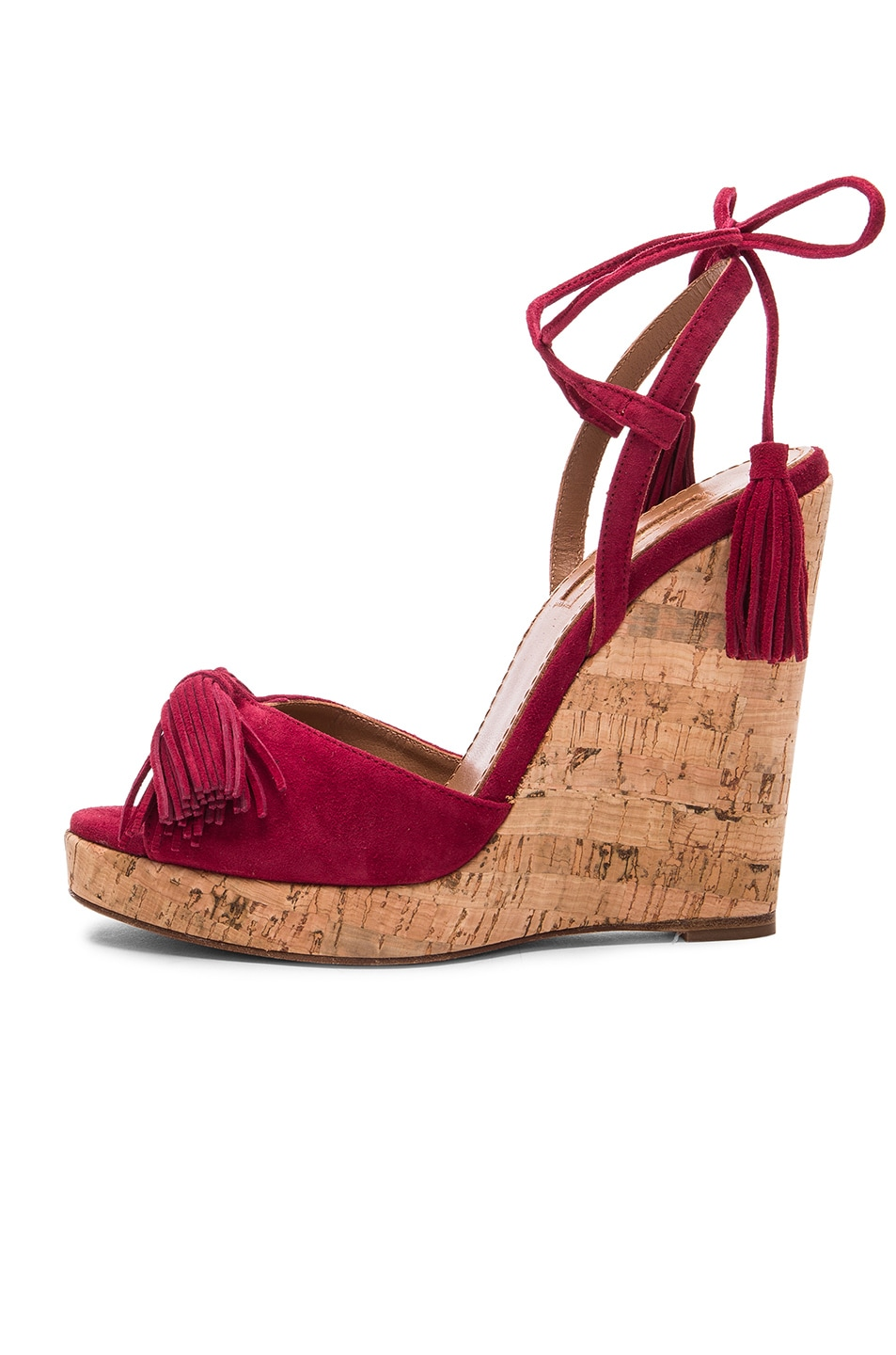 2723dd09ede Aquazzura Suede Wild One Espadrille Wedges in Pomegranate | FWRD