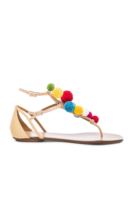 Image 1 of Aquazzura Pom Pom Leather Infra Sandals in Beige & Multi