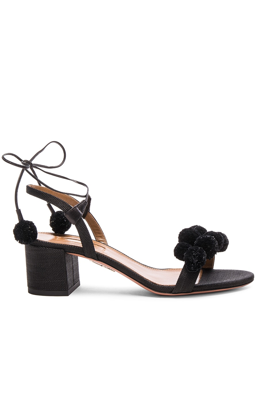 Image 1 of Aquazzura Pom Pom Sandals in Black