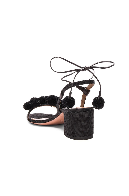 Image 3 of Aquazzura Pom Pom Sandals in Black