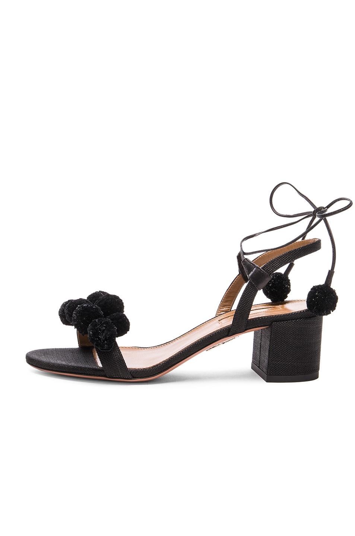 Image 5 of Aquazzura Pom Pom Sandals in Black