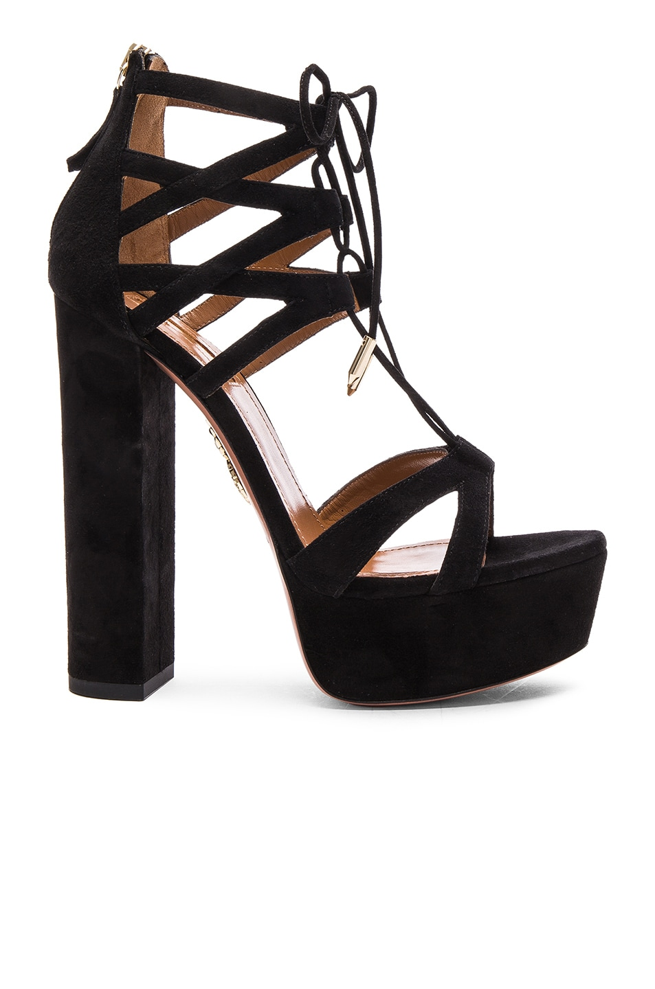 Image 1 of Aquazzura Beverly Hills Plateau Suede Heels in Black