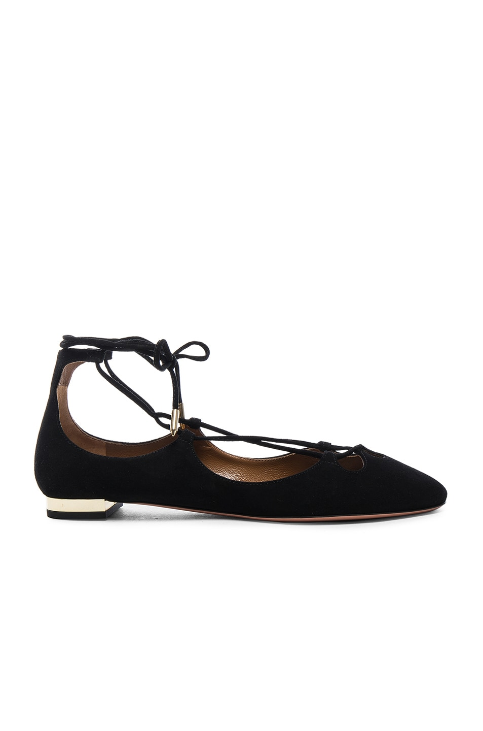 Image 1 of Aquazzura Dancer Suede Flats in Black