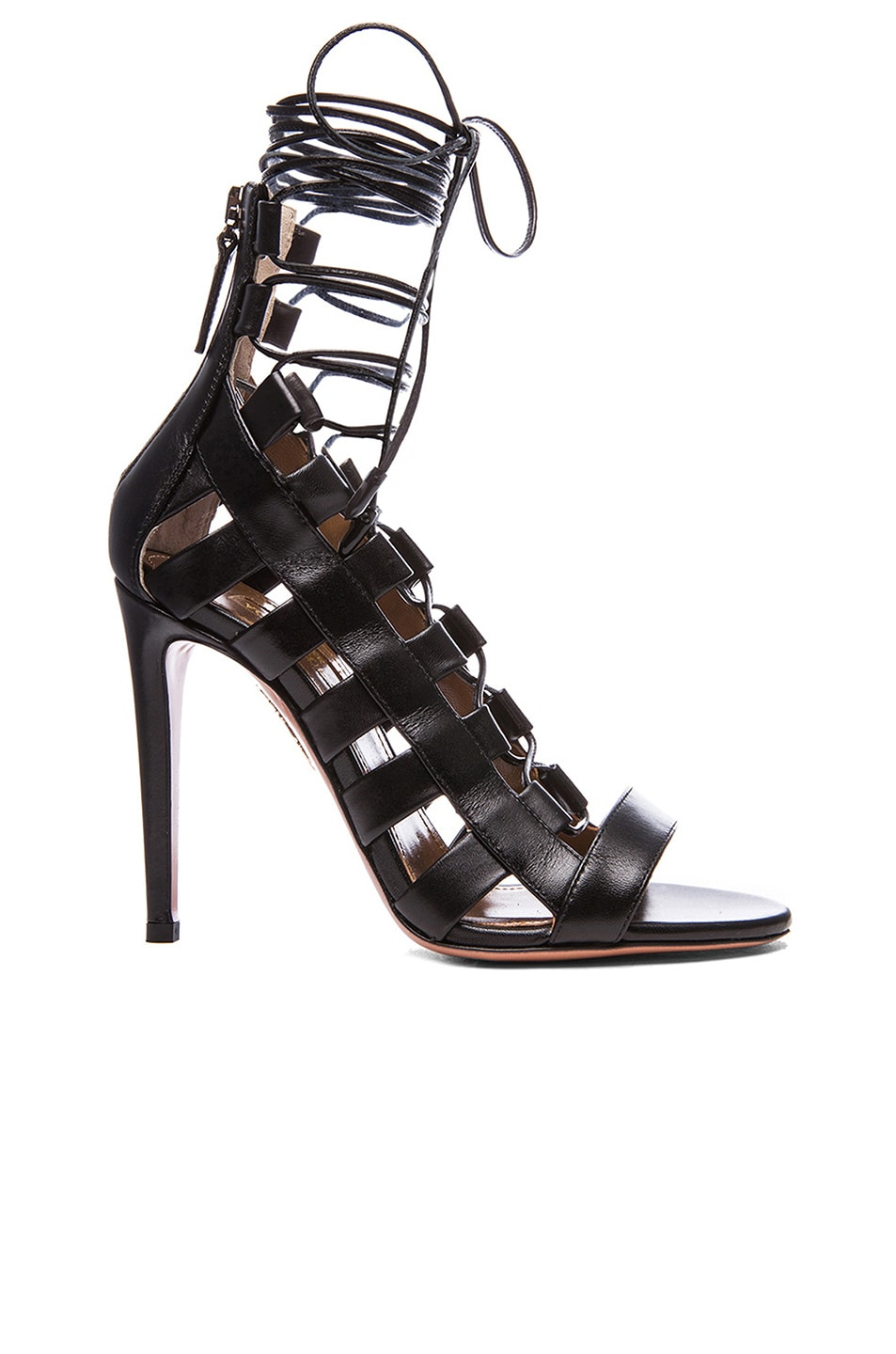 Image 1 of Aquazzura Amazon Leather Lace Up Sandals in Black