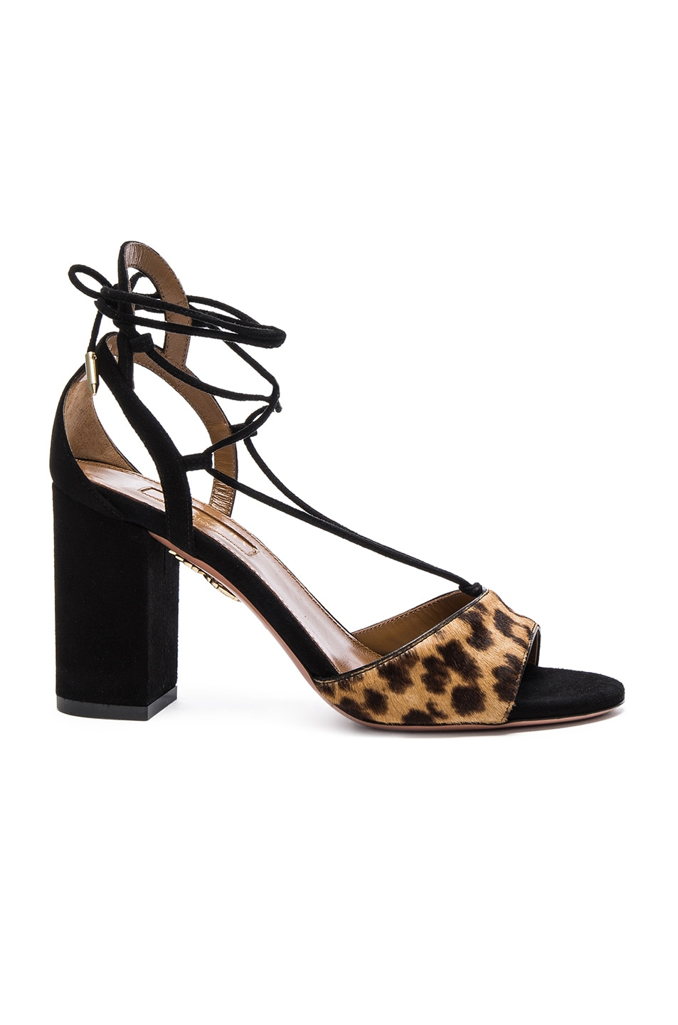 Image 1 of Aquazzura Suede Austin Sandals in Caramel Leopard
