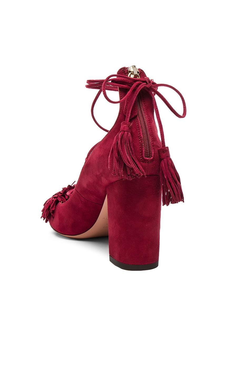 Image 3 of Aquazzura Suede Wild Heels in Pomegranate