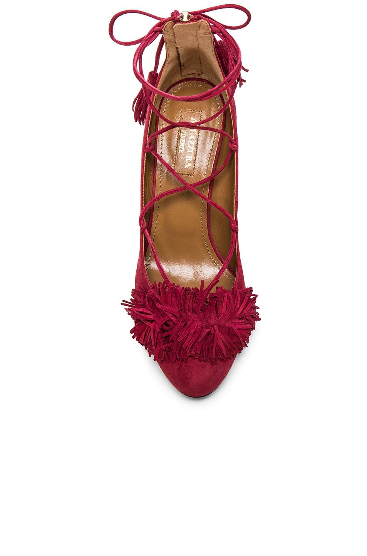 Image 4 of Aquazzura Suede Wild Heels in Pomegranate