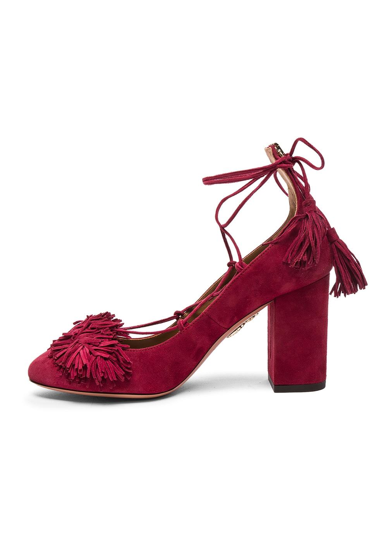 Image 5 of Aquazzura Suede Wild Heels in Pomegranate