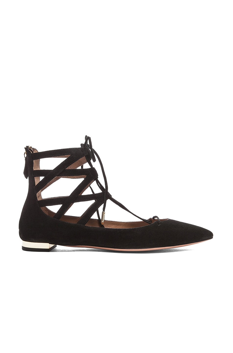 Image 1 of Aquazzura Belgravia Suede Flats in Black