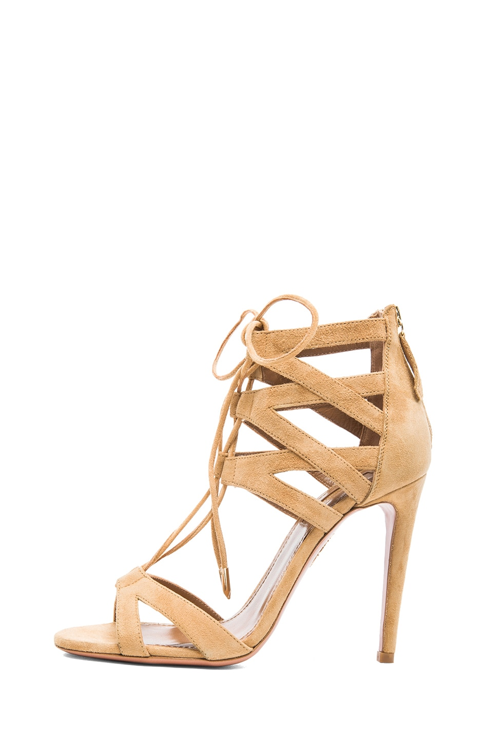 Image 1 of Aquazzura Beverly Hills Suede Sandals in Tan